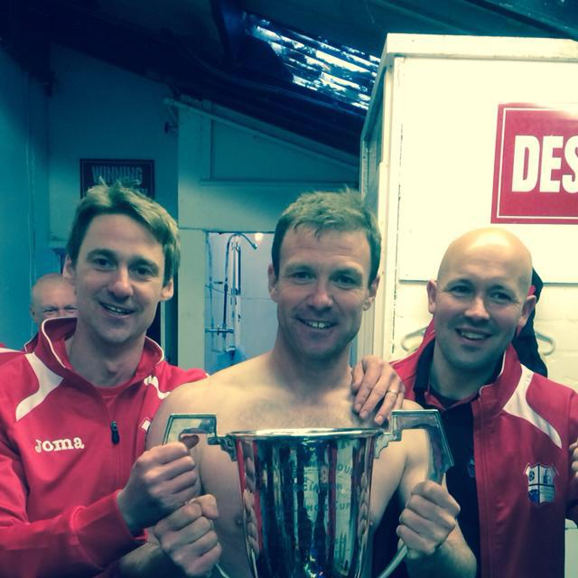 A successful manageent team: with player-manager Kevin Frampton with the cup